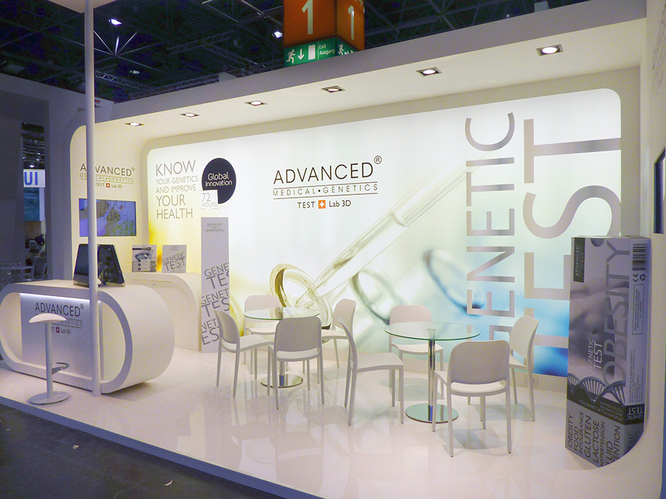 DESIGN AND CONSTRUCTION of a BOOTH for ADVANCED MEDICAL GENETICS  MEDICA DUSSELDORF ALEMANIA