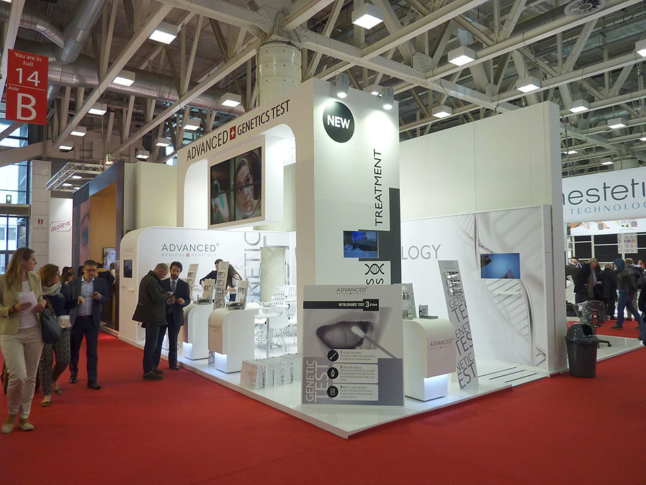 DESIGN AND CONSTRUCTION of a BOOTH for ADVANCED MEDICAL GENETICS COSMOPROF BOLOGNA ITALIA
