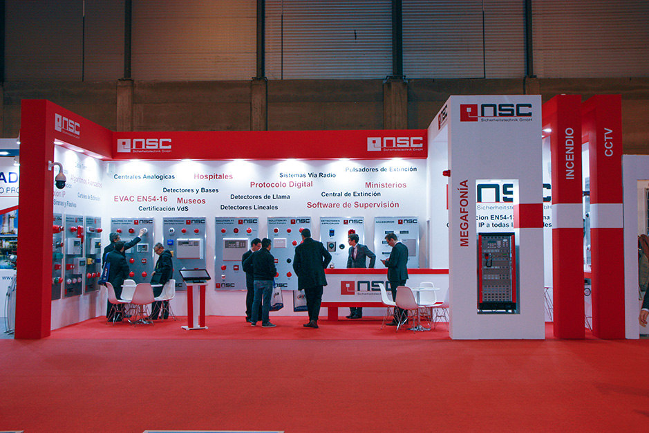 DESIGN AND CONSTRUCTION of a BOOTH for NSC SISTEMAS DE SEGURIDAD SICUR IFEMA MADRID